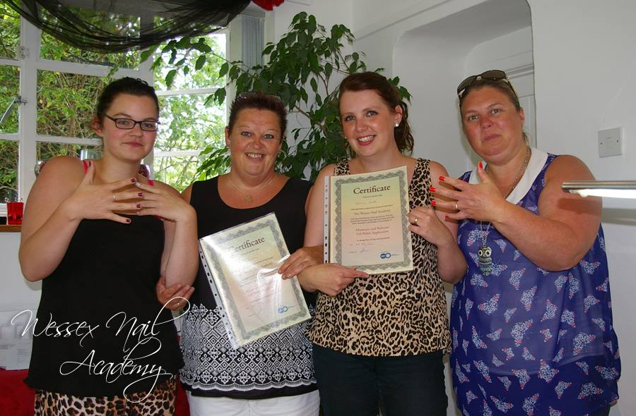 Nail Training Students and Their Certificates, Nail extension training , nail training course, Okeford Fitzpaine, Dorset